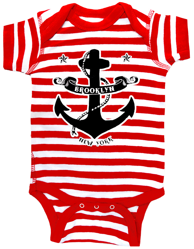 Brooklyn Striped Anchor Onesie