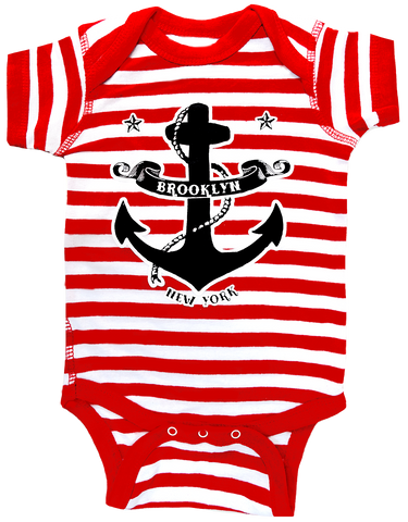 Brooklyn Striped Anchor Romper