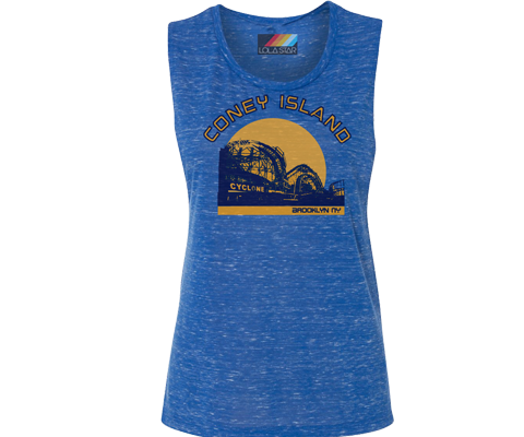 Cyclone Sunset Bright Heather Blue Muscle Tee