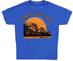 Load image into Gallery viewer, Coney Island Cyclone Sunset Kids Tee
