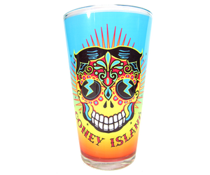 Coney Island pint glass, vibrant, colorful Tillie Day of the Dead design on a handmade pint glass, handmade gifts made in Brooklyn NY
