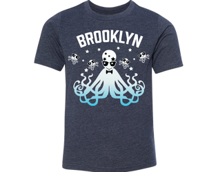 New York neighborhood t-shirt for kids, fun rad disco squid design, handmade gifts for kids made in Brooklyn NY