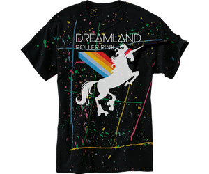 Roller skating t-shirt for adults fun unicorn design on a paint splatter black t-shirt, handmade gifts for everyone made in Brooklyn NY