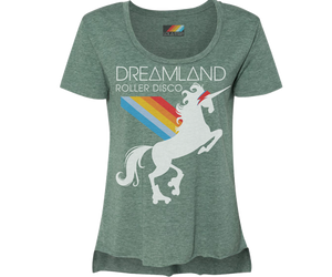 Load image into Gallery viewer, Dreamland Roller Disco Rainbow Unicorn Heather Green Tee