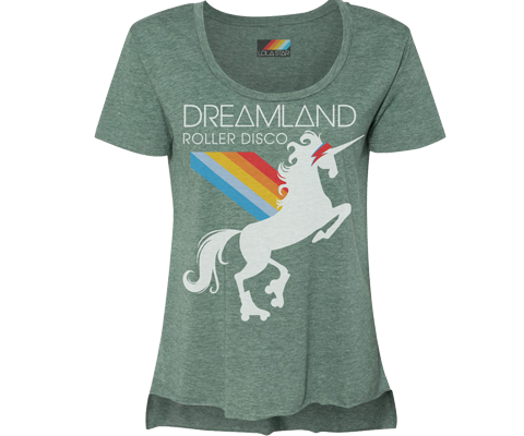 Dreamland Roller Disco Rainbow Unicorn Heather Green Tee