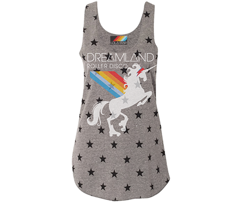 Load image into Gallery viewer, roller skating tank top, perfect gift for ladies,retro star print with fun unicorn design, handmade gifts for her made in Brooklyn NY