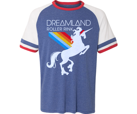 Roller skating t-shirt for adults, retro 70 Style with a fun unicorn design, handmade gifts for everyone made in Brooklyn NY