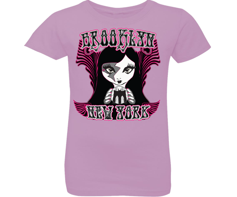 Rockin fortune-teller lilac girls tee. Brooklyn girls tee with a Rockin Gypsy fortune-teller design on a lilac backdrop. Handmade for girls in Brooklyn New York.