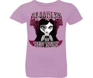 Load image into Gallery viewer, Rockin fortune-teller lilac girls tee. Brooklyn girls tee with a Rockin Gypsy fortune-teller design on a lilac backdrop. Handmade for girls in Brooklyn New York.