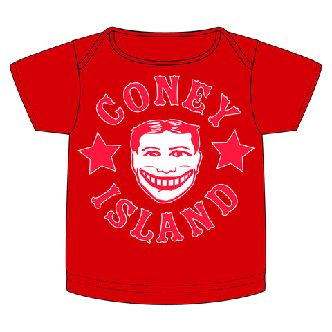 Coney Island Tillie Funny Face Baby Tee in Red