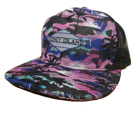 Coney Island hat, rad magenta tropical Surfer digital design with black mesh back on a flat bill cap, and applied patch, handmade gifts made in Brooklyn NY
