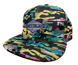 Coney Island hat, rad digital Aqua tropical Surfer design on a flat bill cap, hand-printed, handmade gifts for everyone made in Brooklyn NY