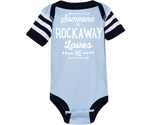 Someone in Rockaway Loves Me Blue Striped Baby Onesie