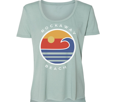 Rockaway Globe Sea Green Scoop Neck Tee