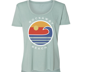 Load image into Gallery viewer, Rockaway Globe Sea Green Scoop Neck Tee