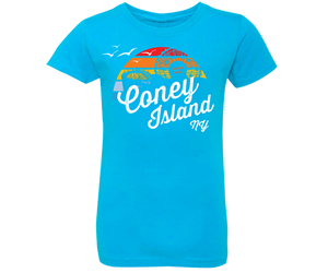 Coney Island Rainbow Surfer Girls Fitted Tee