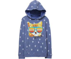 Rad Rockaway sweatshirt for kids with stars and a coney island cat. A beautiful heather blue hoodie.