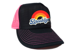 Brooklyn Rainbow Embroidered Hot Pink & Black Mesh Hat
