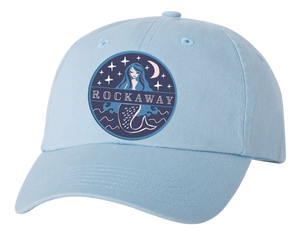 Rockaway Beach hat, Rockaway Starlight mermaid patch design on a classic embroidered light blue baseball cap, hand-applied patch, handmade gifts in Brooklyn made for everyone made in Brooklyn NY