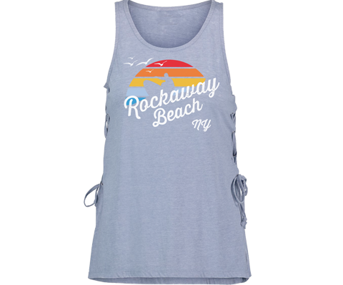 Rockaway beach tank top for ladies, retro surfer with rainbow design, light blur tank top with lace up side, Handmade gifts for her made in Brooklyn NY