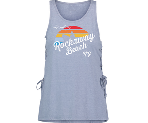 Load image into Gallery viewer, Rockaway beach tank top for ladies, retro surfer with rainbow design, light blur tank top with lace up side, Handmade gifts for her made in Brooklyn NY