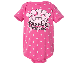 Brooklyn baby Romper, adorable polka dot and pink onesie with a cute Tiara design, handmade gifts are babies made in Brooklyn NY