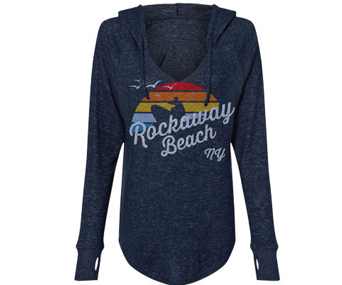 Rockaway Rainbow Surfer Cuddle Fleece Heather Navy Hoodie