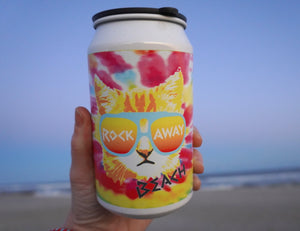 Rockaway Beach to go cocktail cup, cool Rad Cat design with Rockaway Beach print on a tie-dye backdrop, handmade to go cocktail cup, handmade gifts made in Brooklyn NY