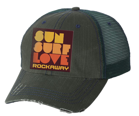 Rockaway Sun Surf Love Embroidered Forest Distressed Mesh Back Hat
