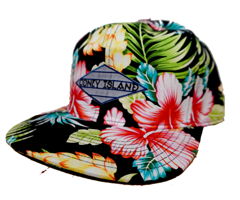 Coney Island hat, tropical floral Surfer design on a black flat bill cap, hand-printed, handmade gifts made for everyone in Brooklyn NY