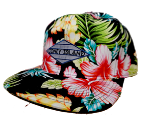 Load image into Gallery viewer, Coney Island hat, tropical floral Surfer design on a black flat bill cap, hand-printed, handmade gifts made for everyone in Brooklyn NY