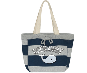 Load image into Gallery viewer, Rockaway Whale Blue & Gray Stripe Beach Bag