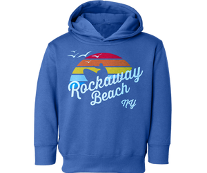 Rockaway Rainbow Surfer Kids Fleece Medium Blue Hoodie