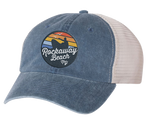 Rockaway Rainbow Surfer Embroidered Navy/Stone Mesh Back Hat