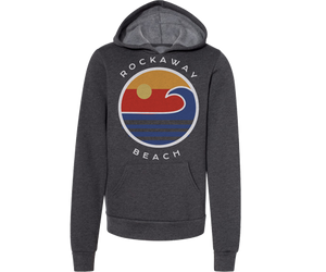 Rockaway youth hoodie, ocean wave design on Heather grey fleece hoodie, handmade gifts for kids made in Brooklyn NY