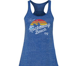 Load image into Gallery viewer, Rockaway Rainbow Surfer Blue Flowy Tank