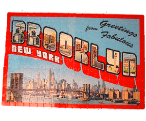 Brooklyn puzzle, retro postcard style design with Brooklyn landscape on a handmade puzzle, handmade gifts for everyone made in Brooklyn NY