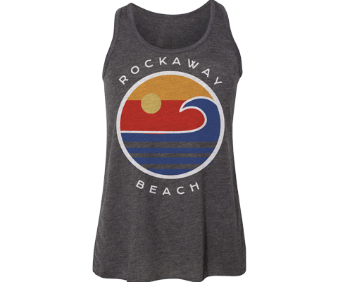 Rockaway racerback flowy tank, ocean wave design on a heather gray tank for girls, handmade gifts made for kids in Brooklyn NY