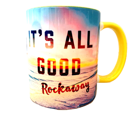 Rockaway Beach mug, right, sunny beach design on a handmade mug, handmade gifts for everyone made in Brooklyn