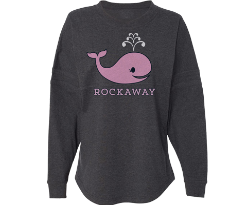 Rockaway beach sweatshirt for ladies,cute whale design, super cozy and warm,Handmade gifts for her made in Brooklyn NY