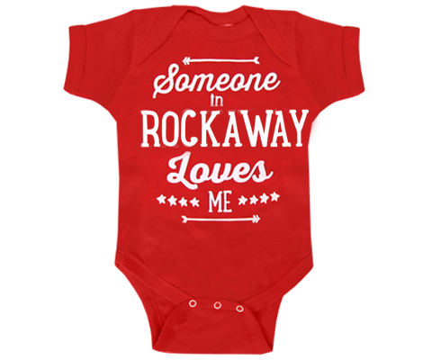 Someone in Rockaway Loves Me Red Baby Onesie