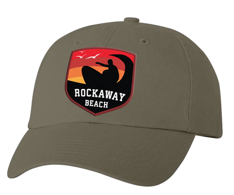 Load image into Gallery viewer, Rockaway Surfer Sunset Embroidered Olive Green Hat
