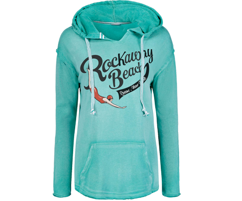 Rockaway beach sweatshirt for ladies , vintage swimmer design, Aqua fleece sweatshirt, Handmade gifts for her made in Brooklyn NY