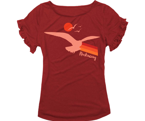 Cute Rockaway girls ruffle tee with a seagull and sunset design. All on a Heather red girls t-shirt handmade in Brooklyn, New York.