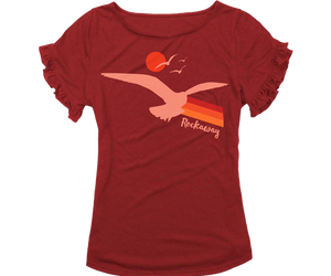 Load image into Gallery viewer, Cute Rockaway girls ruffle tee with a seagull and sunset design. All on a Heather red girls t-shirt handmade in Brooklyn, New York.