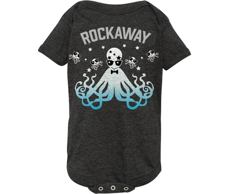 Rockaway onesie. Disco squid design on a heather gray baby's onesie. Handmade gift for babies and parents -to- be made in Brooklyn New York. The perfect gift for a baby shower.