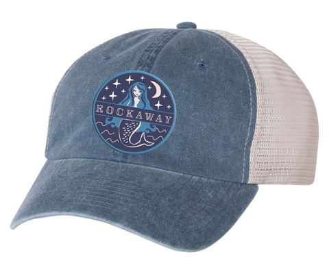 Load image into Gallery viewer, Rockaway Beach hat, Rockaway Starlight mermaid patch design on a stone blue embroidered classic baseball cap with a white mesh back, hand-applied patch, handmade gifts for everyone made in Brooklyn NY