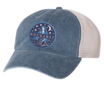 Rockaway Starlight Mermaid Embroidered Blue/Stone Mesh Back Hat