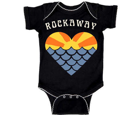Rockaway Sunset Mermaid Heart Baby Onesie