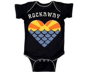 Rockaway Beach onesie, Sunset mermaid heart design on a black onesie with white thread trim, handmade gifts for babies made in Brooklyn NY